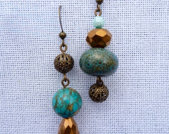 aqua-ma-topaz asymmetrical earrings
