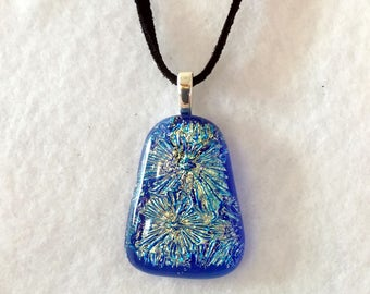 Dichroic Fused Glass Pendant - Glass Necklace - Fused Jewelry - Dichroic Jewelry - Girlfriend Gift - Mothers Day Gift - Blue Necklace