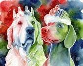 DOG LOVER GIFT, custom portrait of dogs, watercolor painting, commission dog portrait, golden retriever, weimaraner, custom dog art, drawing