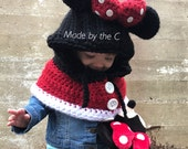 PATTERN - Minnie Mouse Inspired Hooded cowl cape in 4 sizes