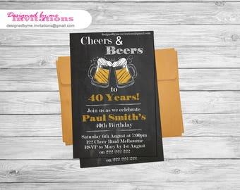 Chalkboard Cheers and Beers Birthday Invitation - DIY Printing - JPEG File