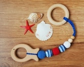 Nautical Sailor Crochet Baby Teether with wooden fish - Eco-friendly Organiс First toy - Baby shower gift under 15 - red white blue colors