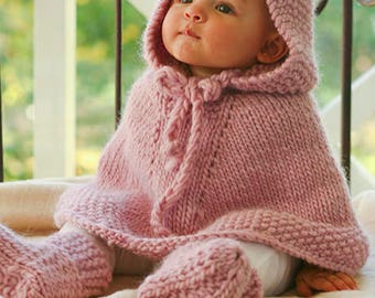 Hand knitted baby hooded poncho cape and booties baby knitwear clothes - knitted baby clothes - made to order - knit