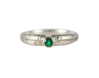 Emerald Palm Ring, Emerald Ring, Silver Emerald Ring, 14K Emerald Ring, Textured Ring, Gemstone Ring, Solitaire Ring, May Birthstone Ring