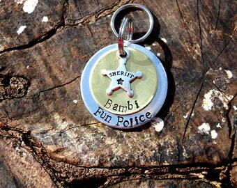 Personalized Fun Police Dog ID Tag, Custom Sheriff Dog Tag, Personalized Fun Police Dog ID Tag, Cute Police Dog ID Tag Brass & Aluminum Tag