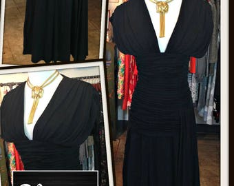Vintage Scassi Black Crepe de Chine Dress Drapped FREE SHIPPING