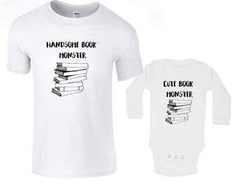 Matching t-shirts, book lovers, father daughter present, baby dad shirts, parent child clothes, daddy gift