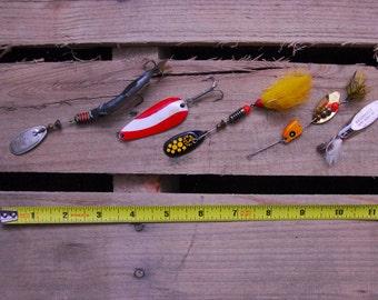 5 Vintage Fishing Lures - Acme Mepps Lusox