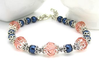 Coral and Navy Bridesmaid Bracelets, Navy and Peach Wedding Jewellery, Pearl and Crystal Bridal Sets, Bridal Bracelets, Bridesmaid Gift Idea