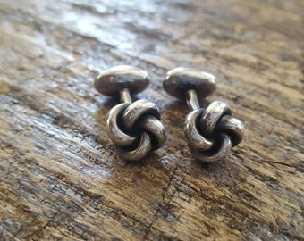 SALE Vintage 1940s Solid Sterling Silver Love Knot Cuff Links // Symbol of Love, Friendship & Affection // Gift for Him // Man Jewelry