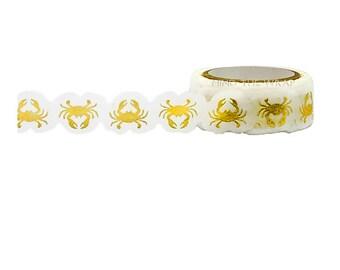 "Little B  ""Crabs"" Gold Foil Die Cut Washi Tape - 15mm x 8m - Planners Decoration Scrapbooks Card-making Favors Gift Wrap"