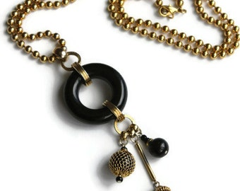 Vintage Gold and Black Ball Chain Charm Necklace