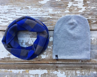 Blue Scarf and Beanie Set Infinity Scarf & Hat Set Blue Plaid Scarf Baby Scarf Toddler Scarf Drool Bib Slouchy Beanie Baby Beanie Winter Hat