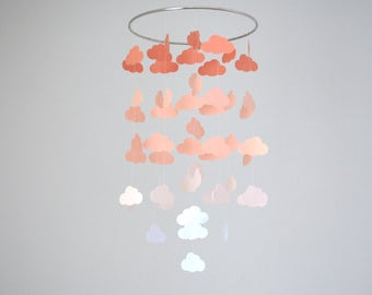 Peach Clouds Mobile // Nursery Mobile - Choose Your Colors