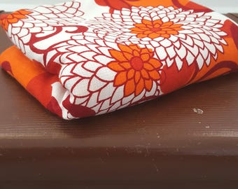 RESERVED for Maryanne Vintage Tablecloth Bright Orange Red Floral