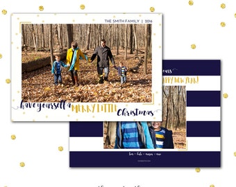 Christmas Card, Merry Little Christmas, Navy and Gold, Photo Card, Confetti, Have Yourself a Merry Little Christmas, Printed or Printable