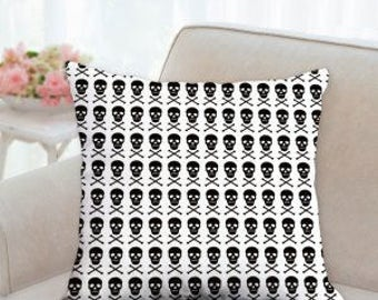 White Halloween Pillow with Black Skulls