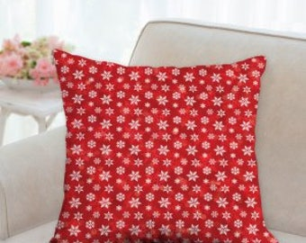 Red & White Snowflake Christmas Pillow