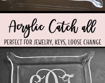 Acrylic Monogram Jewelry tray, Monogram catch all tray, monogram snack tray, acrylic tray, monogram, birthday gift, tray, makeup tray