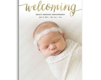 Birth Announcement Card Photoshop Template - 5x7 Photo Card Template - BABY GRACE - 1665