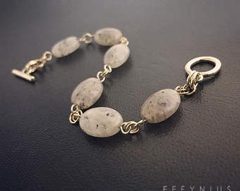 14K Gold Plated Rutilated Quartz Gemstone Bracelet