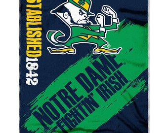 Fleece University of Notre Dame College Team 50x60 Lightweight Fleece Fabric Finished Throw