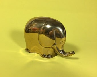 Brass Elephant Figurine, Paperweight, Metal, 1970's