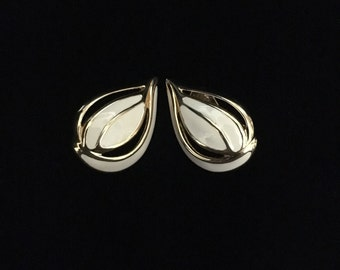 Vintage 1980's Monet© Abstract Enamel Goldtone Leaf Style Clip-On Earrings (Tier 1)