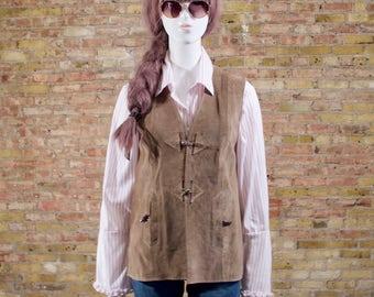 70s suede vest / gilet / taupe vest / bohemian / long hippie vest / suede gilet / 70s womens / minimalist 70s / leather vest / long vest