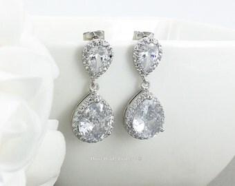 Dangle Earrings, CZ Earrings, Sterling Silver Earrings, Wedding Jewelry, Bridal Earrings, Cubic Zirconia Earrings, Teardrop Earrings