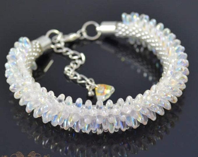 White Bracelet crystal AB white bracelets seed beads bracelet bachelorette gift bride birthstone bracelet mom crochet bracelets seed beads