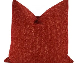 Red/Gold Woven Chenille Throw Pillow Cover, 16x16, 18x18, 20x20, 22x22, Lumbar Pillow Cover, 12x20, 14x22