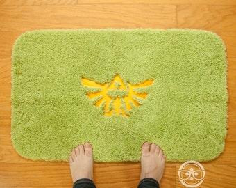 """Legend of Zelda """"Triforce"""" Inspired - Embroidered Bath Mat or Rug"""