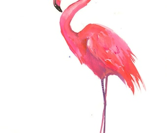 Flamingo art one of  akind painting pink flamingos, original watercolor painting 14 x 11 in
