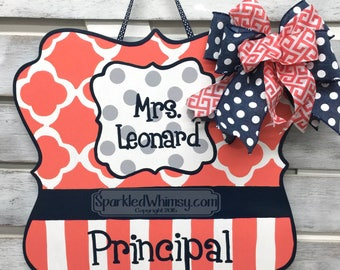Personalized Teacher Sign Classroom Decoration, End of year gift, door hanger, Office Sign Accounts Payable - Teacher Sign Coral Navy Blue