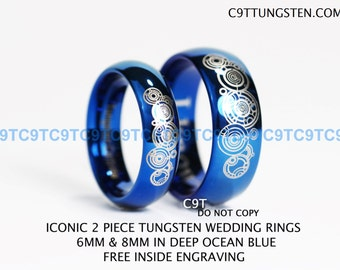 Doctor Who Inspired 6MM & 8MM Tungsten Wedding Ring -Deep Ocean Blue Inside, Free Inside Engraving