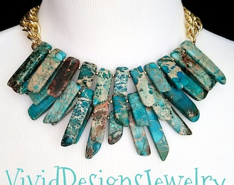 Spike Turquoise Statement Necklace - Spike Turquoise Bib Jewelry - Coachella Fashion Necklace - Aqua Turquoise Statement Necklace