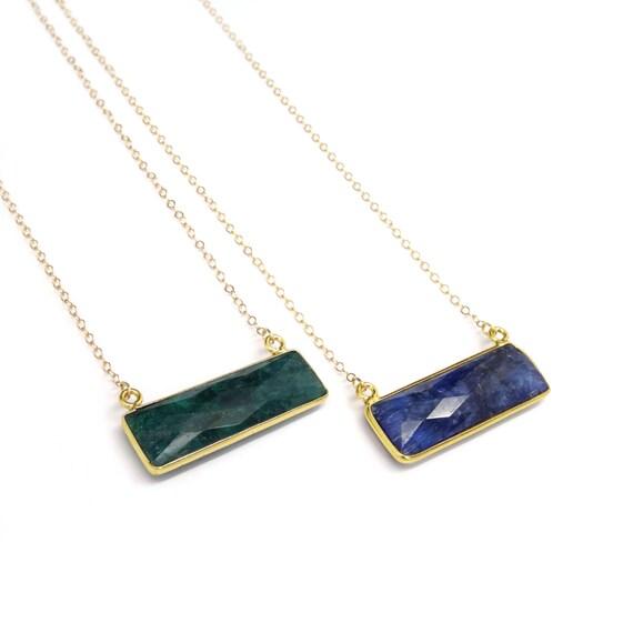 Sapphire & Emerald Quartz Bar Necklace