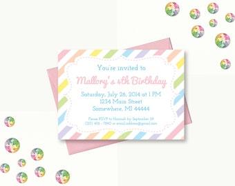 Pastel Rainbow Party Invitation, Rainbow Birthday, Pastel Rainbow Invitation, Rainbow Invite, Printable Invitation, digital invitation