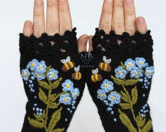 Knitted Fingerless Gloves, Forget-Me-Not,  Black, Blue, Green, Bees, Clothing And Accessories, Gloves & Mittens, Gift Ideas, For Her,