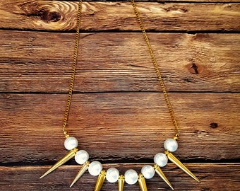Pearl and Gold Spike Statement Necklace