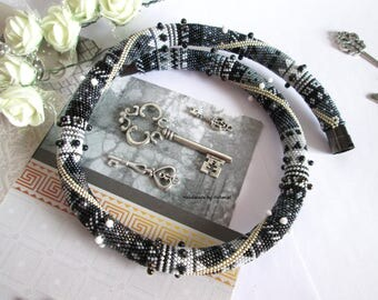 Bead Crochet Necklace Queen black white gray black hematite drops silver geometry evening office unusual for her