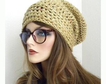 Yellow Slouch Hat, Boho Fashion, Hippie Slouch Hat, Knit Hat, Yellow, Bohemian, Crocheted Hat, Women's Hat, Women's accessory, winter hat
