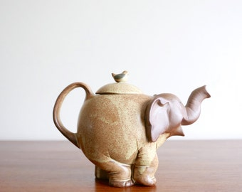 """Vintage signed """" Elephant and bird """" teapot, 1970s"""