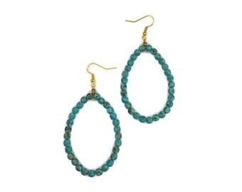 Handcrafted Turquoise Teardrop Hoop Earrings
