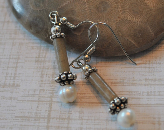 Lake Michigan Petoskey stone nugget earrings with pearls,sterling silver beads, Up North