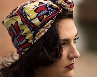 Headwrap  red and blue