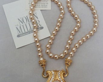 Nolan Miller Pearl Necklace with Reversible Pendant - S2063
