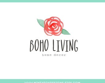 Bohemian Logo, Watercolor Logo Template, PSD Logo Template, Rose Boho Logo, Instant Download Logo, DIY Logo Template, Watercolor Rose Logo