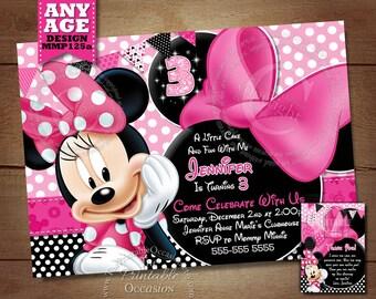Pink Minnie Mouse Invitation, Minnie Mouse Polka Dot Birthday Printables, Photo Invitation, Digital Invitation, Minnie Mouse Birthday Party